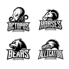 Furious octopus, horse, bear and alligator sport vector logo concept set isolated on white background.