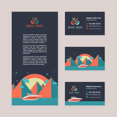 Yacht on the background of night mountain landscape. Yacht trips. Sunset. Vector template business cards and flyers.