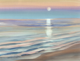 moonlight seascape watercolor