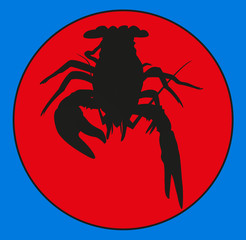 cancers of the emblem . Marine crustaceans , crawfish silhouette, crayfish icon, lobster sign, crawfish . group of arthropods . symbol vector illustration .