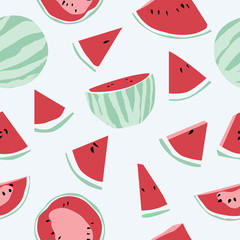 Seamless background with watermelon. Fruity pattern background. Vector illustration