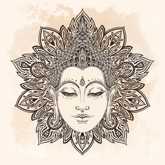 Buddha face in ornate mandala round pattern over beige vintage background. Esoteric vintage vector illustration. Indian, Buddhism, spiritual art.