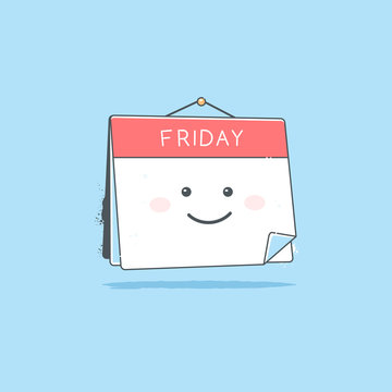 Happy calendar cartoon mascot character smiling on Friday page vector illustration