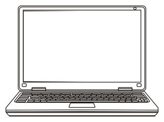 Computer, laptop, cartoon, illustration, technology, technology, business, internet, office, Network, touch pad, system, coloring