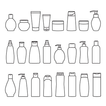 Set of cosmetic cans and bottles icons