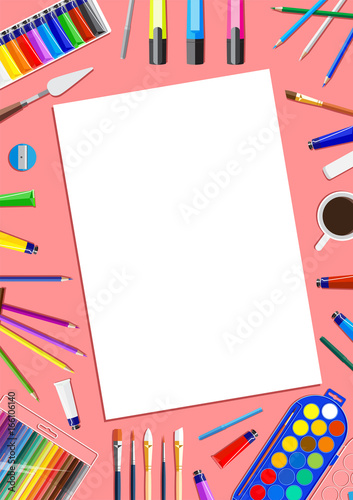 frame with drawing tools stationery and artist items flat creative