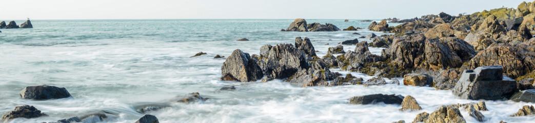 Rocky coastline on Guernsey, Channel Islands, UK