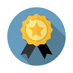 Award medal icon,winner emblem symbol in flat style with long shadow, isolated web icon