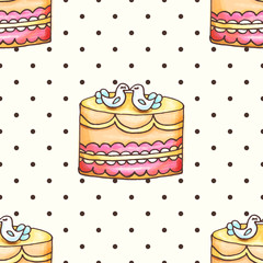 Cake with polka dotsseamless pattern illustration. Pastry and bakery background. Vector design for baker shop, cafe.
