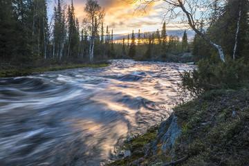 river Polisarka at Kola ponisula, Russia, Arctic taiga