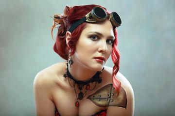 serious steampunk woman