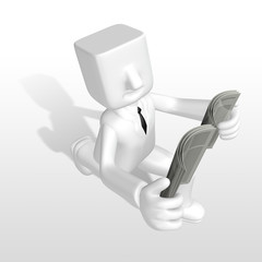 3d business man running to read the newspaper