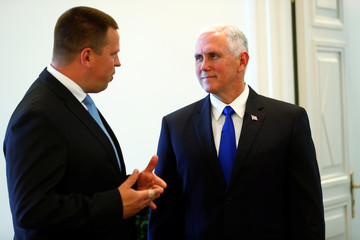 U.S. Vice President Pence listens to Estonia's Prime Minister Ratas in Tallinn
