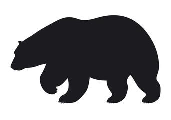 Silhouette bear on white background, vector illustration