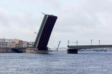 Navy day and parade on Neva river
