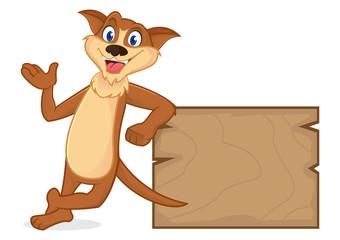 Weasel cartoon mascot leaning on wooden plank
