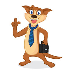 Weasel cartoon mascot wearing tie and carrying suitcase