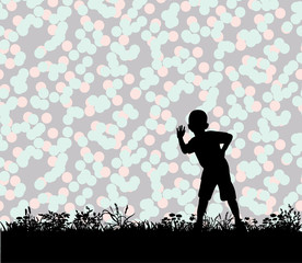 Vector, silhouette of a child playing on the grass