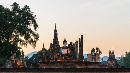 Buddha statue at wat mahathat temple in sukhothai historical park thailand