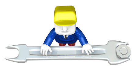 3d engineer working with his tool. 3D Square Man Series.