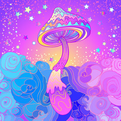 Magic mushrooms. Psychedelic hallucination. Vibrant vector illustration.