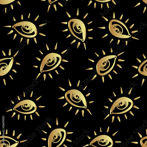 Eyes, seamless pattern in vintage psychedelic style  Ethnic