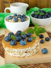 Sandwich with peanut butter and blueberries