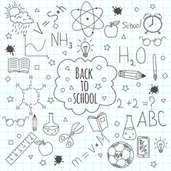 Back to school doodles. Hand drawn objects. Vector illustration.