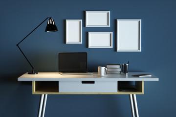 Designer desktop with clear laptop