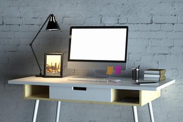 Blank white pc monitor