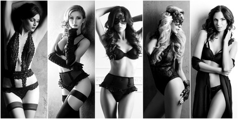 Set of a beautiful model in black, sexy lingerie. Beauty, fashion and vogue concept.