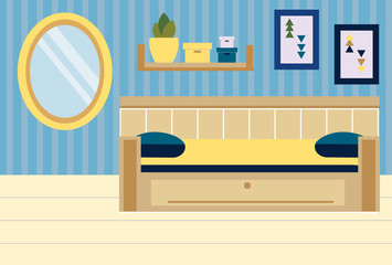 Room interior. Apartment in blue and yellow colors. Bedroom design with sofa, shelves, mirror