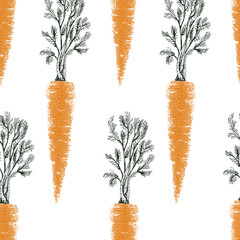 Carrot hand drawn vector seamless pattern. Retro Vegetable engraved style object. Can be use for menu, label, farm market