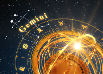 Zodiac Sign Gemini And Armillary Sphere On Blue Background