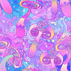 Magic mushrooms seamless pattern. Psychedelic hallucination. Vibrant vector illustration.
