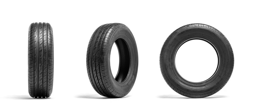 New car tires isolated on white background