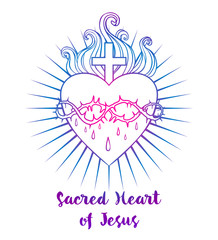 Sacred Heart of Jesus. Vector illustration in vivid colors isolated on white. Trendy Vintage style element. Religion, purity, sacrifice, spirituality, occultism, alchemy, magic, love.