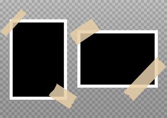 Vector photo frame picture background. Border photography album design. Image element empty retro frame
