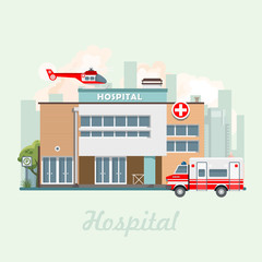 Hospital building vector illustration in flat design. Modern clinic with helicopter