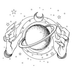 Human hand with space and sacred geometry symbols. Dotwork tattoo flash design. Vector illustration isolated on white. Eye of Providence. Masonic symbol. All seeing eye.
