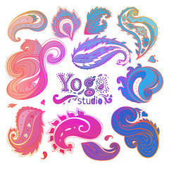 Yoga, meditation floral symbols collection. Ornamental Boho Chic Ethnic Style Elements. Vector illustration. Tattoo template. Trendy hand drawn tribal symbol collection.