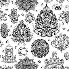Seamless pattern of Ornamental Paisley Elements. Vector illustration. Tattoo template. Trendy hand drawn tribal symbol background. Hippie design elements.
