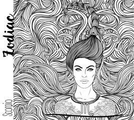 Zodiac: Illustration of Scorpio zodiac sign as a beautiful girl. Vector art with portrait of a pretty girl. Black, white drawing over ornate pattern. Horoscope coloring book