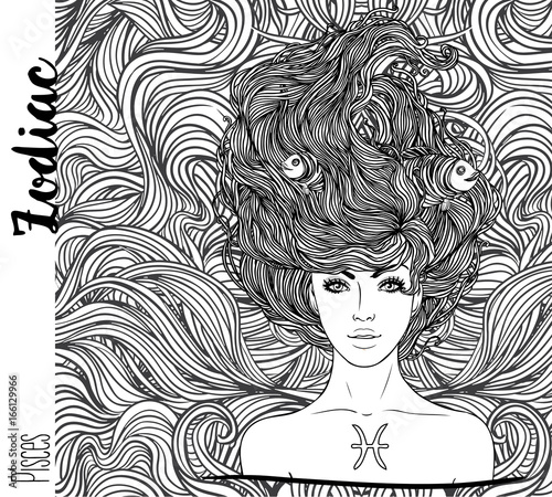 Zodiac Illustration Of Pisces Zodiac Sign As A Beautiful Girl