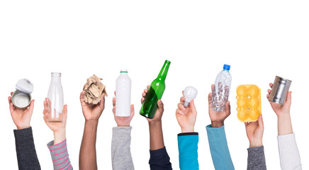 Trash samples in hands isolated on white background