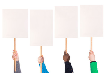 Protest signs in hands, isolated on white background