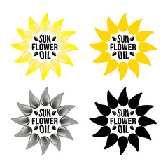 Set of bright yellow sunflower logo emblem