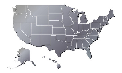 Vector - United States of America Aluminium Tone map including State Boundaries With Shadow