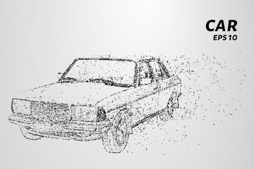 The car consists of dots and circles. Car the wind blows away particles. Vector illustration.