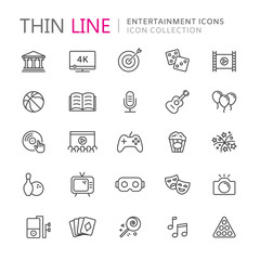 Collection of entertainment thin line icons